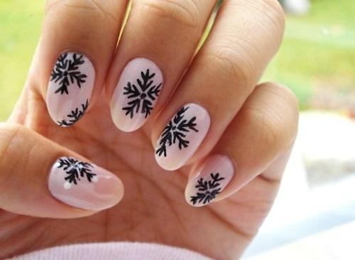 Сніжинки на нігтях Для ледачих!