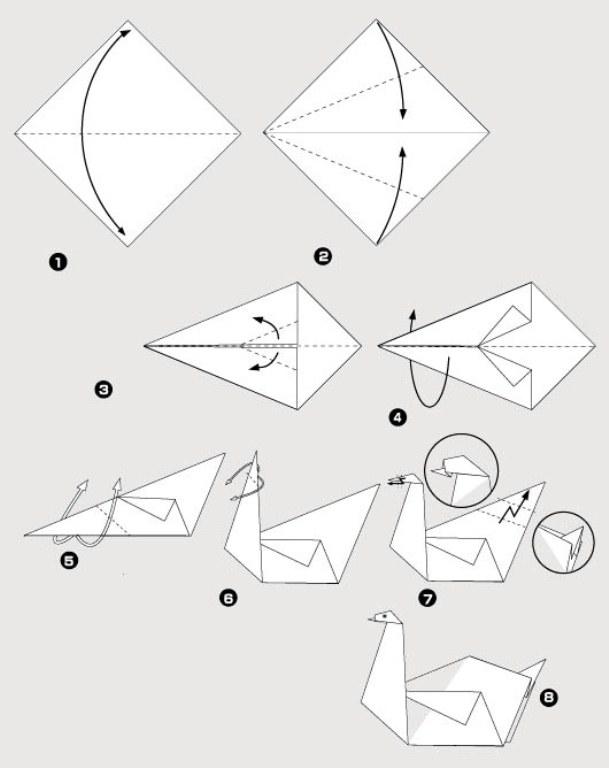 Орігамі з паперу: птах. Опис і схеми для виготовлення орігамі птахів