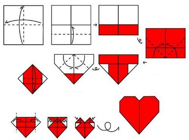 Серце орігамі. Способи виготовлення і прості схеми